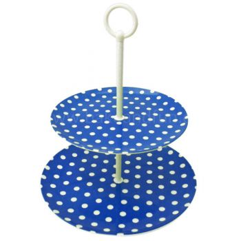Soporte para Cupcakes - Dos Niveles - Lunares Azul - Home Collection