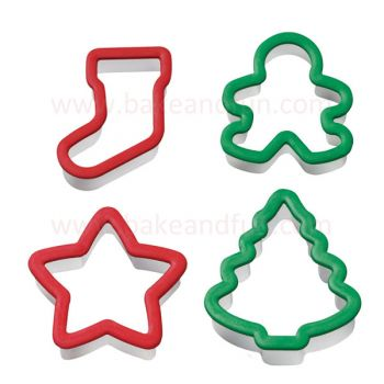 Cookie Cutter Christmas.Set 4 Cookie Cutters Christmas Wilton Bake Fun