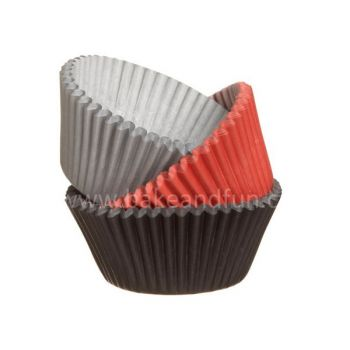 Wilton Baking Cups Assorted Red/Black/Silver 75pcs - Wilton
